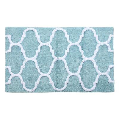 Harriette Bath Rug Size: 50 x 30, Color: Arctic Blue/White