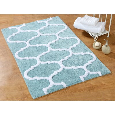 Harriette Bath Rug Size: 36 x 24, Color: Arctic Blue/White
