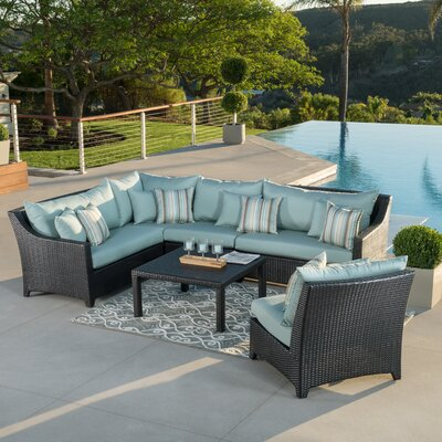 Northridge 6 Piece Sectional Set with Cushions Fabric: Bliss Blue THRE9958 37724237