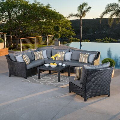Northridge 6 Piece Rattan Sunbrella Sectional Set with Cushions Fabric: Charcoal Grey THRE9958 33260395