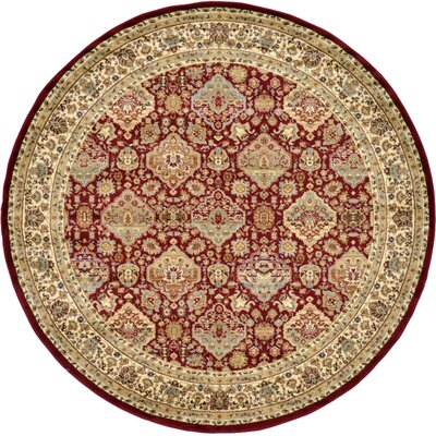 Fairmount Red Oriental Area Rug Rug Size: Round 8