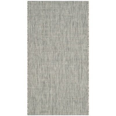 Adelia Gray/Turquoise Indoor/Outdoor Area Rug Rug Size: Rectangle 2 x 37