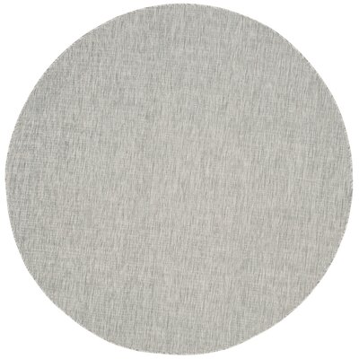 Adelia Gray/Turquoise Indoor/Outdoor Area Rug Rug Size: Round 67