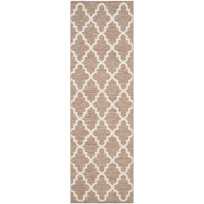 Eberhardt Hand-Woven Beige/Ivory Area Rug Rug Size: Runner 23 x 7
