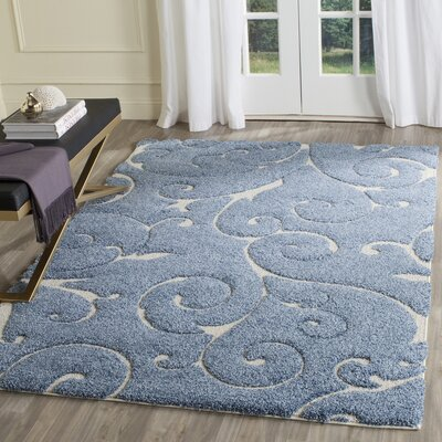 Alison Light Blue / Cream Area Rug Rug Size: Rectangle 53 x 76