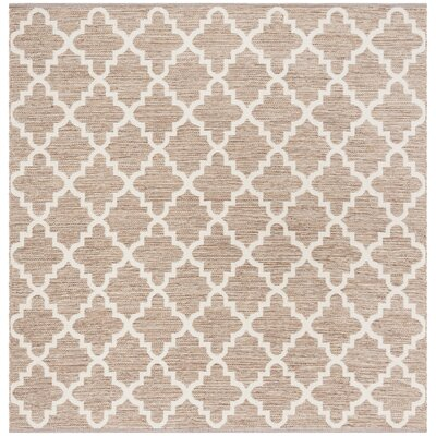 Eberhardt Hand-Woven Beige/Ivory Area Rug Rug Size: Square 6