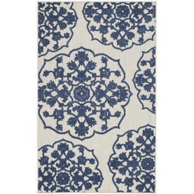Oakmont Navy/Ivory Indoor/Outdoor Area Rug Rug Size: Rectangle 33 x 53