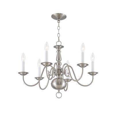 Allensby 6-Light Metal Candle-Style Chandelier Finish: Brushed Nickel