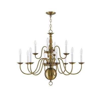 Allensby 12-Light Candle-Style Chandelier Finish: Antique Brass