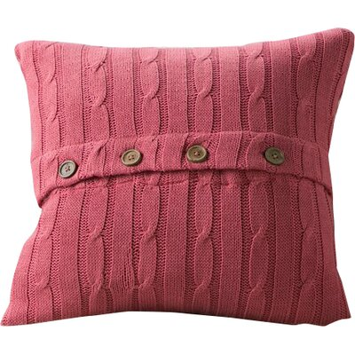 Harrietstown Cable-Knit 100% Cotton Throw Pillow Color: Red