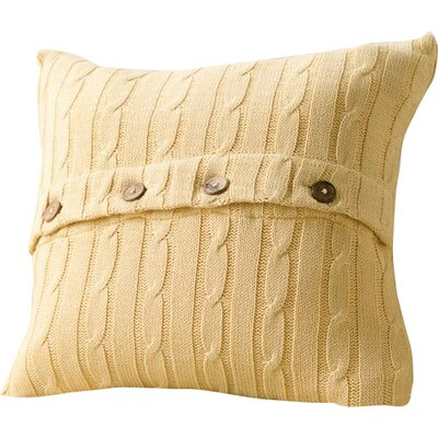 Harrietstown Cable-Knit 100% Cotton Throw Pillow Color: Mustard