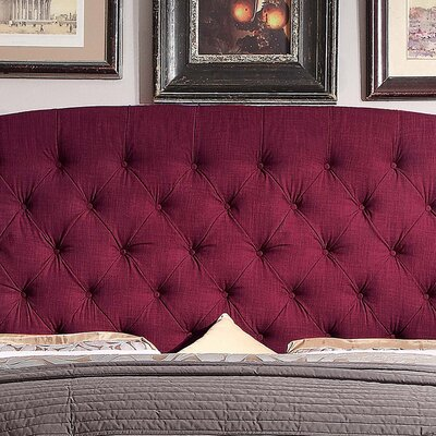 Leatham Upholstered Wingback Headboard Size: Queen, Upholstery: French Burgundy