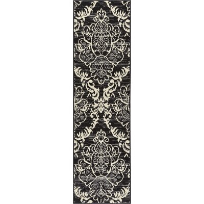 Cherwell Damask Trellis Power Loom Black Indoor Area Rug Rug Size: Runner 2 x 72