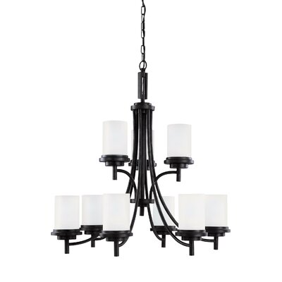 Dashiell 9-Light Chain Shaded Chandelier Finish: Blacksmith, Bulb Type: Incandescent A19 100W
