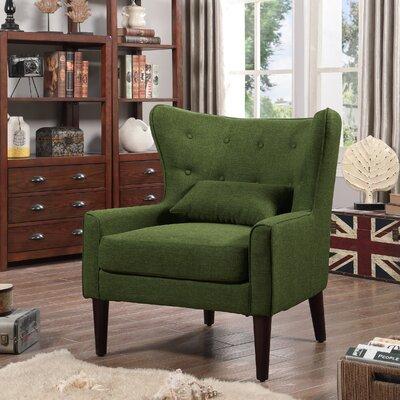 Millett Wingback Chair Upholstery: Green
