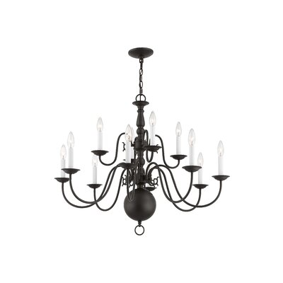 Allensby 12-Light Candle-Style Chandelier Finish: Bronze