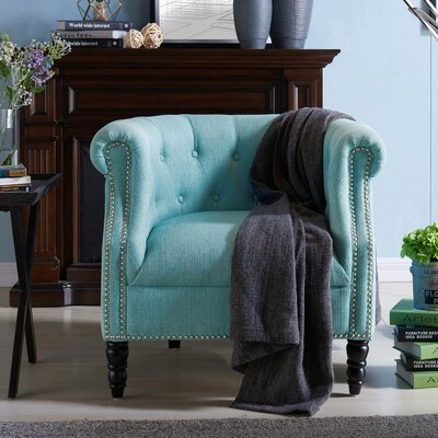 Huntingdon Barrel Chair Upholstery: Sky Blue