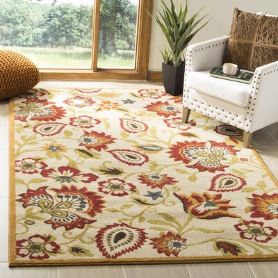 Hidden Creek Ivory/Gold Area Rug Rug Size: Rectangle 5'1