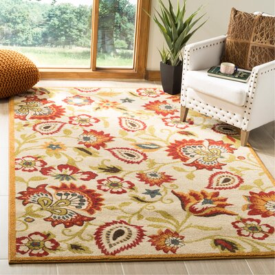 Hidden Creek Ivory/Gold Area Rug Rug Size: Rectangle 51 x 76