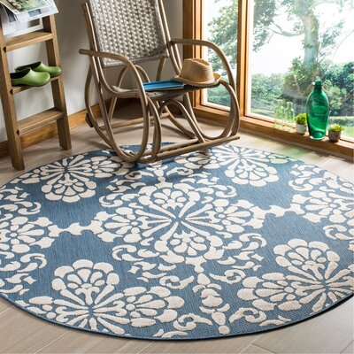 Robinwood Light Blue/Beige Indoor/Outdoor Area Rug Rug Size: Round 67