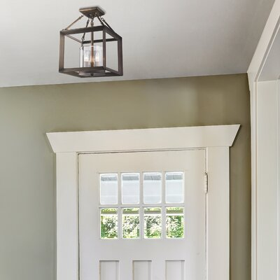 Thorne 3-Light Semi Flush Mount Finish: Gunmetal Bronze, Shade Color: Clear