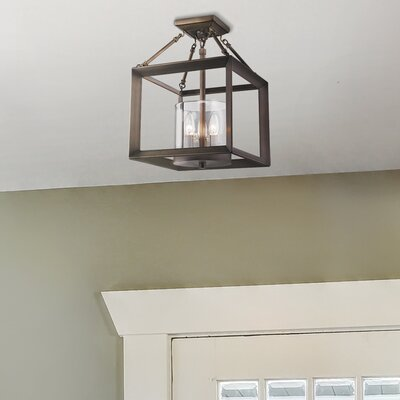 Thorne 3-Light Semi Flush Mount Finish: White Gold, Shade Color: Clear