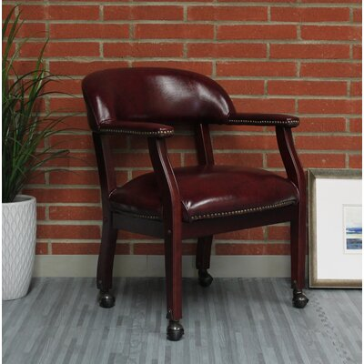 Pershore Vinyl Guest Chair Color: Burgundy, Casters: No