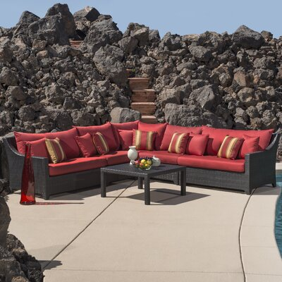 Northridge 6 Piece Rattan Sunbrella Sectional Set with Cushions Fabric: Cantina Red THRE9958 37724236