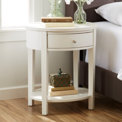 Canterbury End Table with Storage Color: White