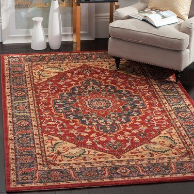 Donner Beige/Red Area Rug Rug Size: 67 x 92