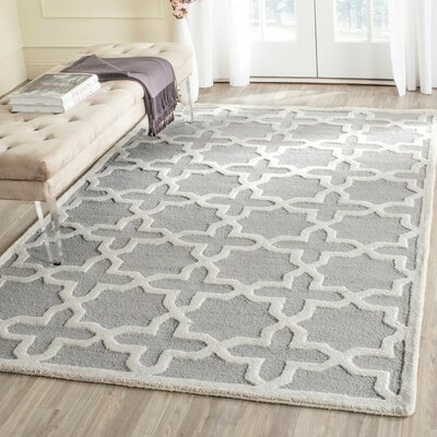 Cherry Hill Hand-Tufted Gray/Ivory Area Rug Rug Size: Rectangle 4 x 6