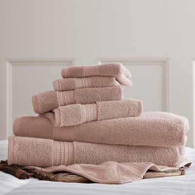 6 Piece Towel Set Color: Dusty Rose