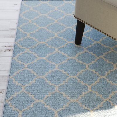 Danbury Hand-Woven Wool Light Blue/Ivory Area Rug Rug Size: Rectangle 4 x 6