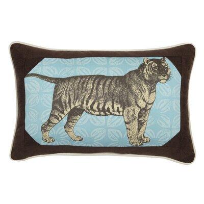 Tiger Indoor/Outdoor Throw Pillow Color: Aquamarine