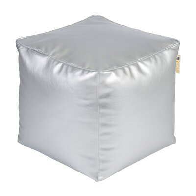 Glam Pouf Ottoman Upholstery: Silver