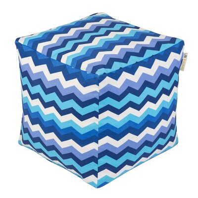 Wave Occassional Outdoor Pouf Ottoman Upholstery: Azure