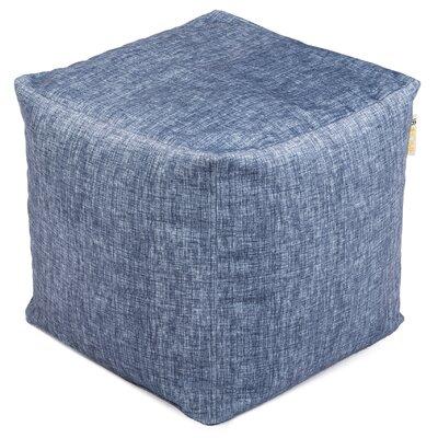 Printed Plush Velour Pouf Ottoman Upholstery: Stonewash
