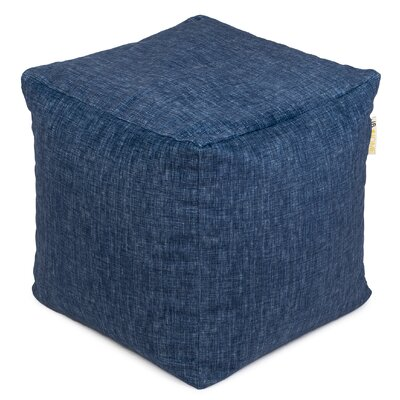 Printed Plush Velour Pouf Upholstery: Denim