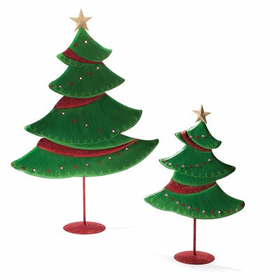 DEMDACO Silvestri Home Accents 2 Piece Green Artificial Christmas Tree Set with LED Light
