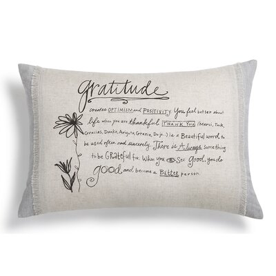 Poetic Threads Gratitude Cotton Lumbar Pillow