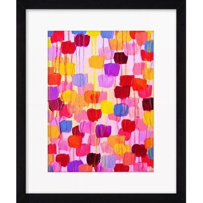 """dotty In Pink"" By Julia Di Sano Framed Painting Print"