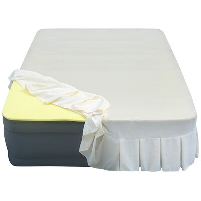 Lustrous 20 Air Mattress with 3/4 Memory Foam Topper and Skirted Sheet Cover