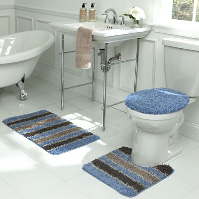 Deliso Stripe Shag 3 Piece Bath Set Color: Light Blue
