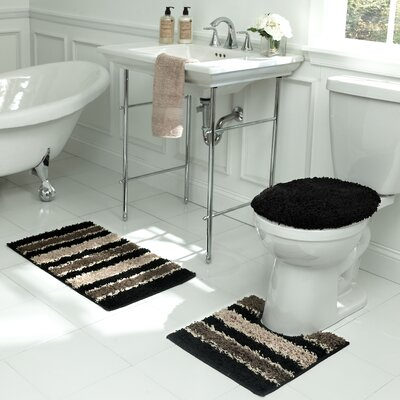Deliso Stripe Shag 3 Piece Bath Set Color: Black