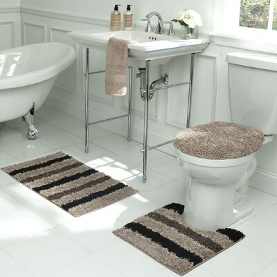 Deliso Stripe Shag 3 Piece Bath Set Color: Linen