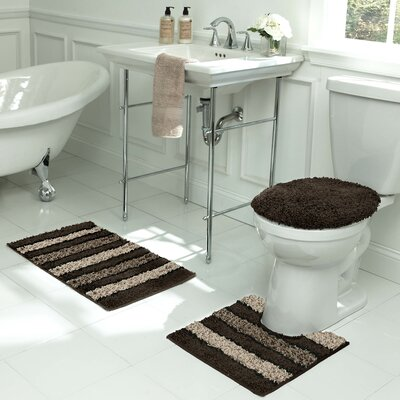 Deliso Stripe Shag 3 Piece Bath Set Color: Chocolate