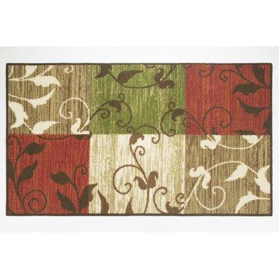 Leaf Vine Squares Area Rug Rug Size: 22 x 39