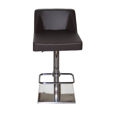 Oss Adjustable Height Swivel Bar Stool Upholstery: Chocolate
