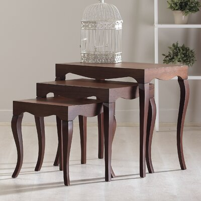 Victor 3 Piece Nesting Table Color: Walnut