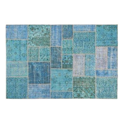 Usak Patchwork Handmade Blue Area Rug